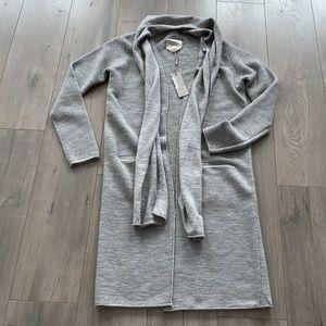 NWT Soia & Kyo Grey Ash Ribbed Wool Lng Cardigan S